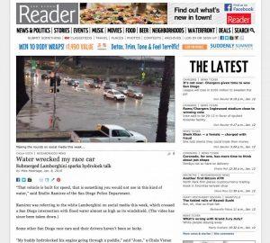 Flood, Flooded, Gallardo, Jan. 5, Lamborghini, Mike Madriaga, Mission Valley, Reader, San Diego, SDReader, Viral Video, YouTube