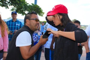 Photo Credit: Kate Usher / National Nurses United Mike Madriaga interviewing Rosario Dawson